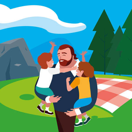 father with sons characters in the field picnic day vector illustration design Stock Illustratie