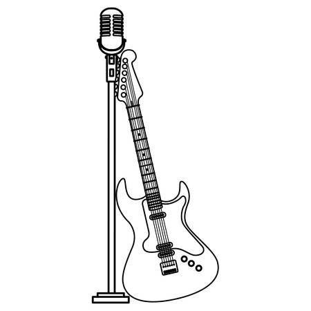guitar electric and microphone instruments vector illustration design