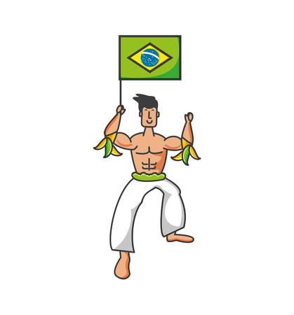 man brazilian dancer with flag of brazil vector illustration design