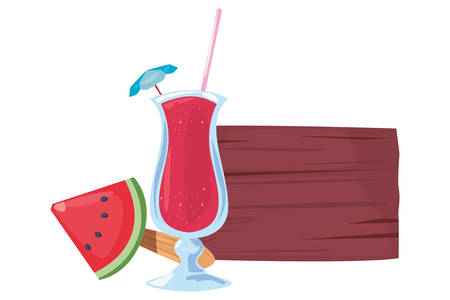summer time holiday wooden board cocktail and fruit   vector illustration Banque d'images - 130535443