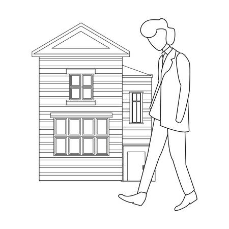 man walking building on white background vector illustration