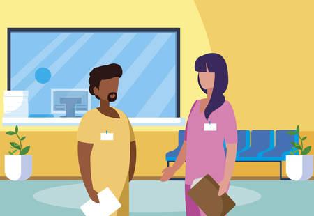 interracial couple medicine workers in reception hospital vector illustration design Çizim