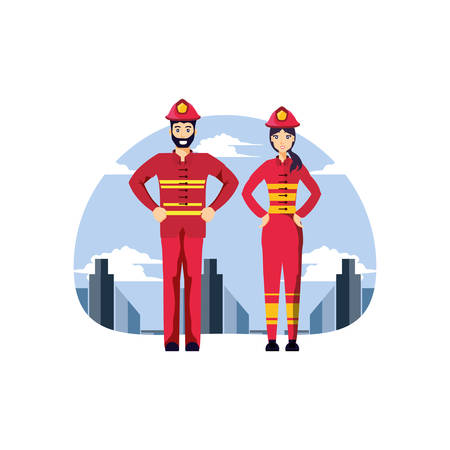 firefighters professionals couple with cityscape vector illustration design