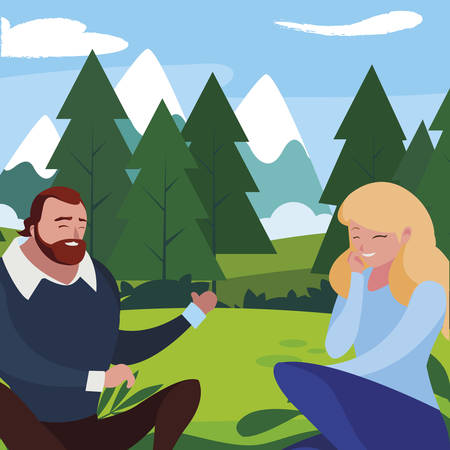 young couple seated in the field vector illustration design Ilustracja