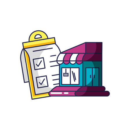store building facade with checklist clipboard vector illustration design