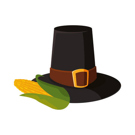 pilgrim hat cob delicious thanksgiving celebrate vector illustration  イラスト・ベクター素材
