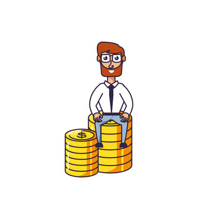 businessman sitting in pile coins dollar vector illustration design