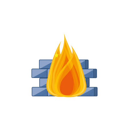 cyber security wall with fire vector illustration design 일러스트