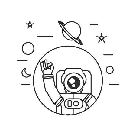 astronaut suit greeting in frame circular with set icons vector illustration design Иллюстрация