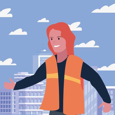 female builder professional labour day vector illustration Çizim