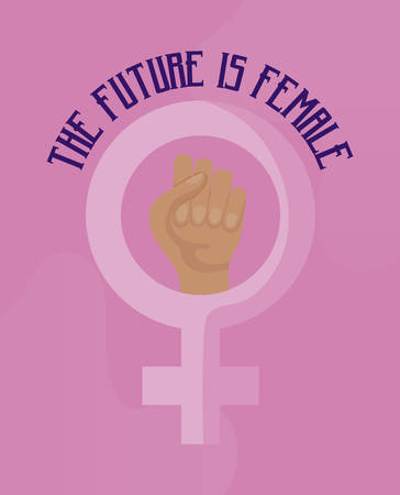 The future is female card with gender female and hand fist vector illustration design