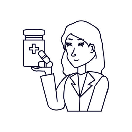 doctor female with bottle of medicine vector illustration design Фото со стока - 130570451