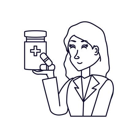 doctor female with bottle of medicine vector illustration design