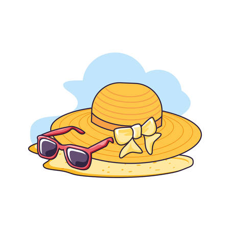 hat female wicker in the beach with sunglasses vector illustration design