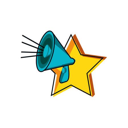 megaphone sound with star vector illustration design