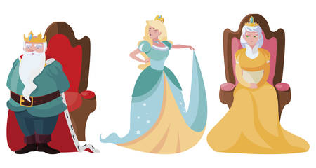 princess with queen and king on throne of tales character vector illustration design Çizim
