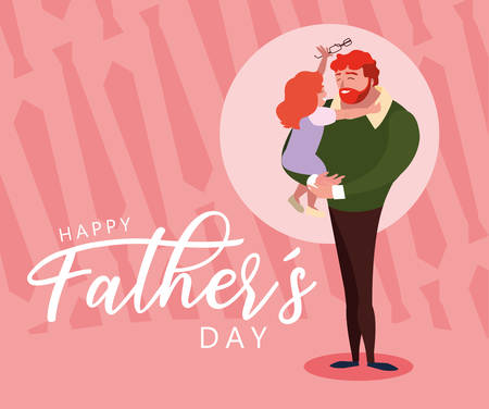 happy father day card with dad and daughter vector illustration design Иллюстрация