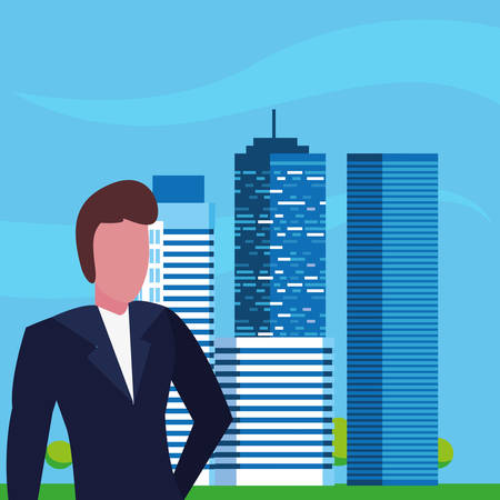 businessman urban building city background vector illustration