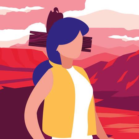 young woman in desert landscape dry scene vector illustration design Çizim