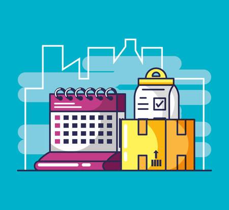 delivery service order and icons vector illustration design Illusztráció
