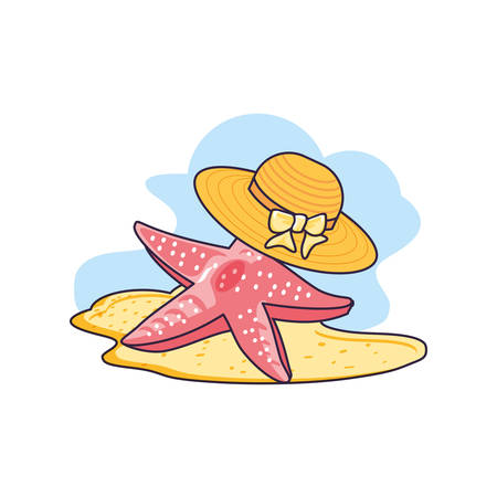 hat female wicker in the beach with starfish vector illustration design