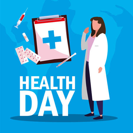 world health day card with doctor woman and icons vector illustration design Çizim