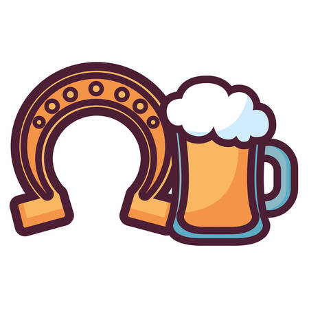horseshoe lucky with beer jar vector illustration design 向量圖像