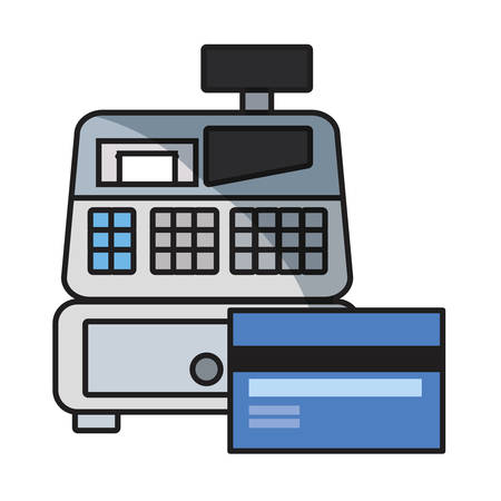 online shopping bank card cash register vector illustration