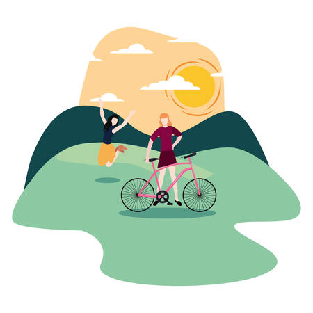 women jump and other with bike activities vector illustration