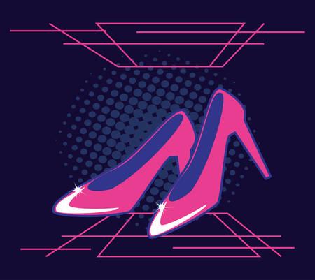 heels shoes of female retro style vector illustration design