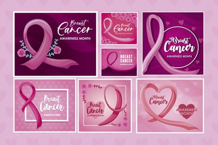 set of cards with label breast cancer vector illustration design