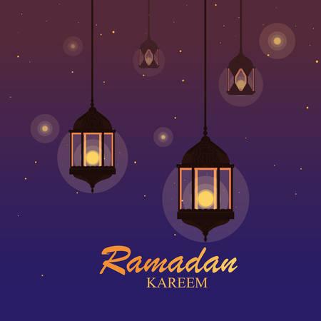 ramadan kareem lamps hanging traditional vector illustration design