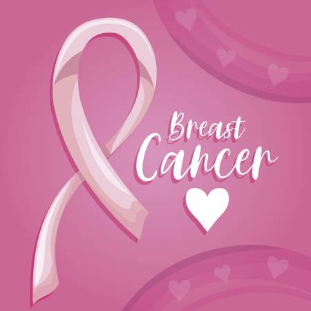 ornate pink ribbon with label breast cancer vector illustration design