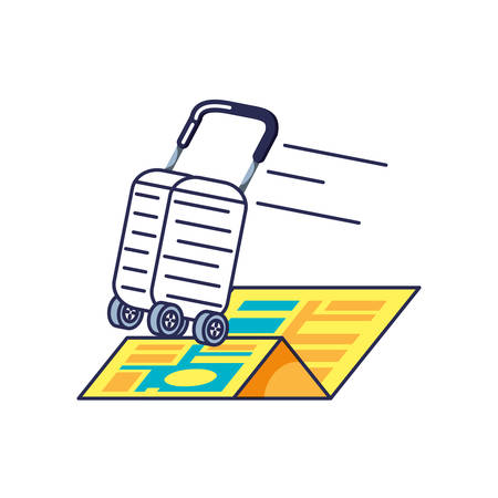 suitcase with wheels and map guide location vector illustration design Иллюстрация