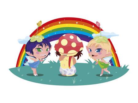 beautiful magic fairies with fungu elf and rainbow vector illustration design