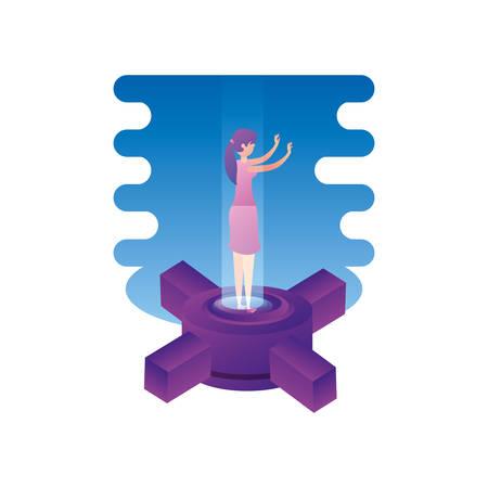 businesswoman worker with data center platform vector illustration design Çizim