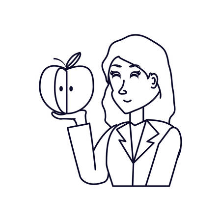 business woman with delicious apple fruit vector illustration design Çizim