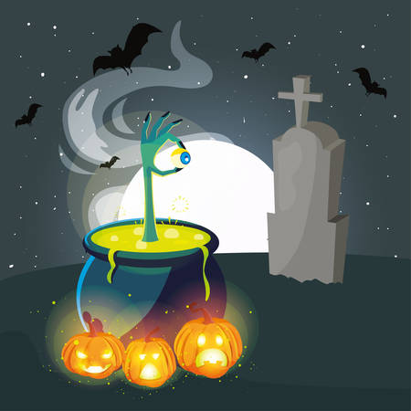 cauldron bubbly of witch on white background vector illustration design Illusztráció