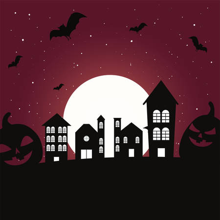 scary castle with moon in scene of halloween vector illustration design