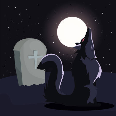 angry wolf howling in cemetery scene vector illustration design