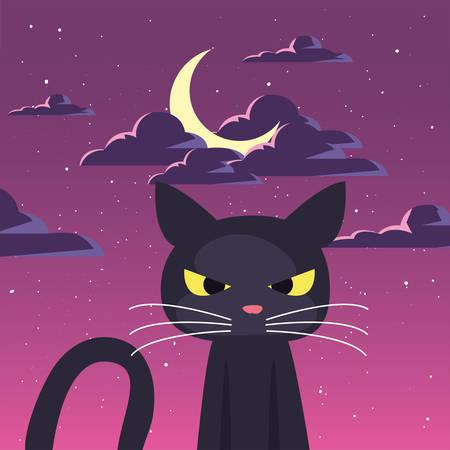 black cat with moon in scene of halloween vector illustration design