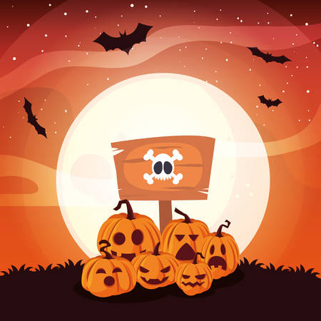 pumpkins with fear face in scene of halloween scene vector illustration design