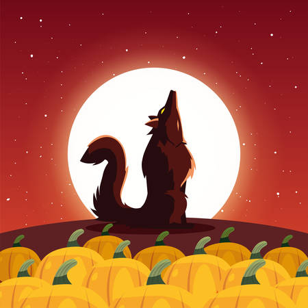 angry wolf howling to the moon in scene of halloween vector illustration design