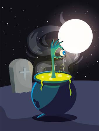 cauldron bubbly of witch on white background vector illustration design Stock Illustratie