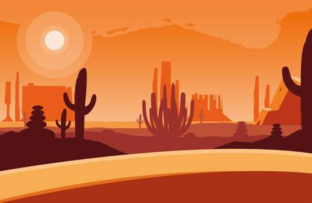 desert landscape scene icon vector illustration design