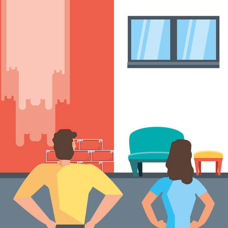 couple with before and after home under construction vector illustration design