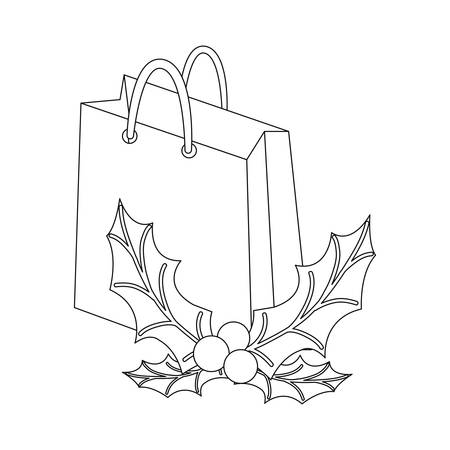 christmas paper bag and holly berry vector illustration Illustration