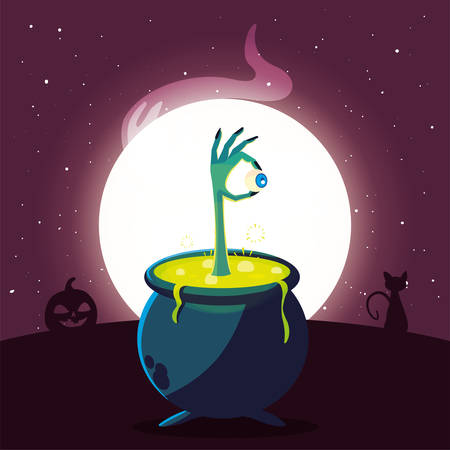 cauldron bubbly of witch in scene of halloween vector illustration design