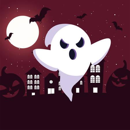 ghost with moon in scene of halloween vector illustration design Ilustrace