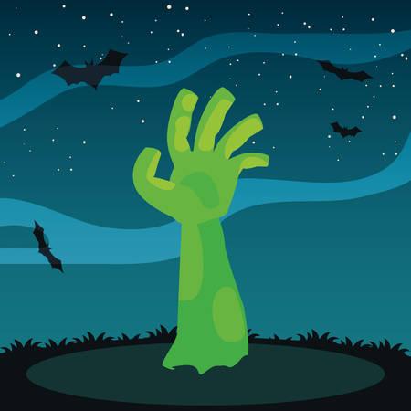 zombie hand in cemetery scene vector illustration design